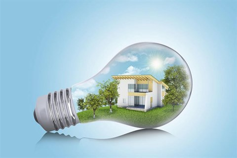 This is an image of a lightbulb with an energy efficient house inside it