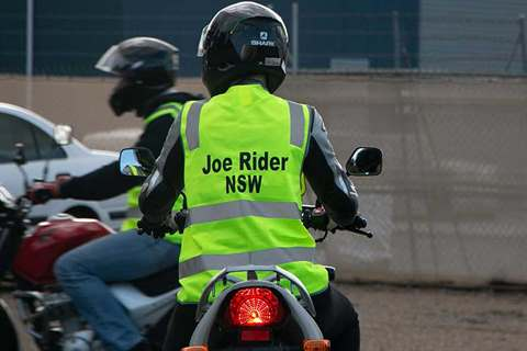 Motorcycle rider wearing the 'Joe Rider' vest