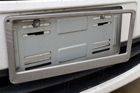 Car fitted with anti-theft screws to number plate