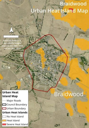 Braidwood urban heat island map