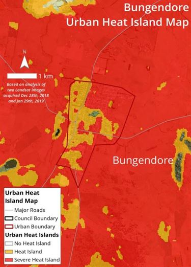 Bungendore urban heat island map