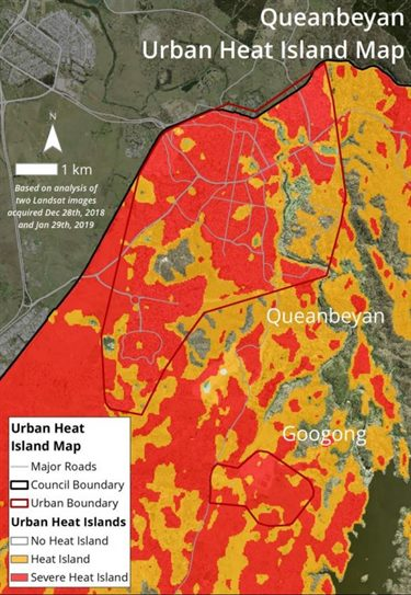Queanbeyan urban heat island map