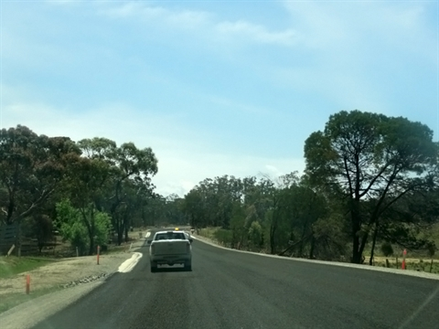 Progress works along Nerriga Road showing widening and surface preparation