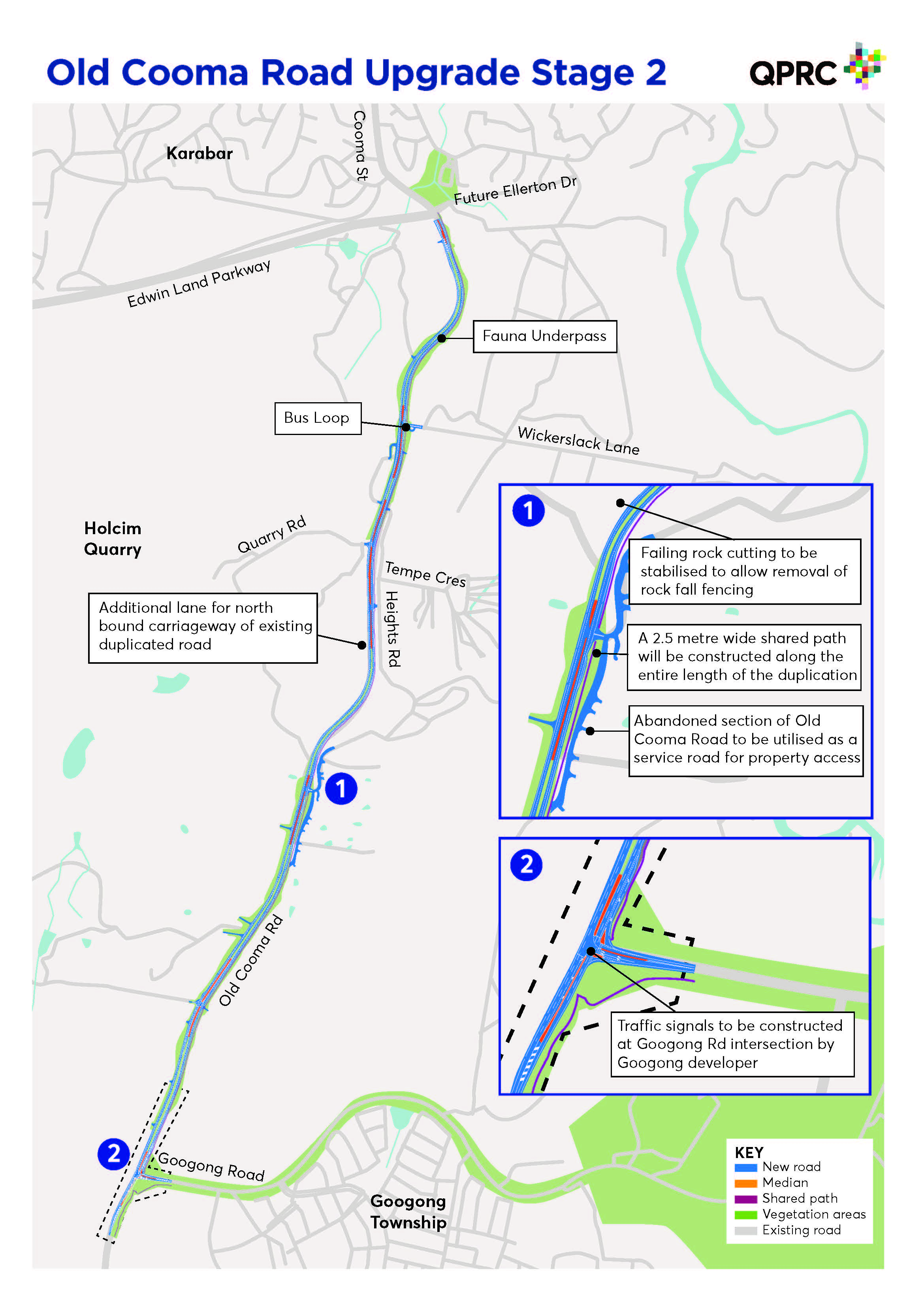 Map showing works for Old Cooma Rd Stage 2