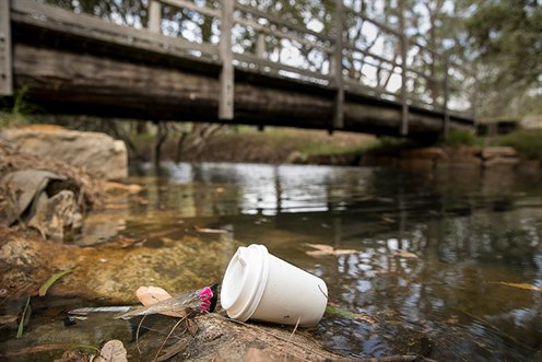 Coffee cup in waterway - Don't be a tosser! campaign