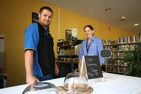 Luke and Elizabeth at the new QPRC Library Cafe