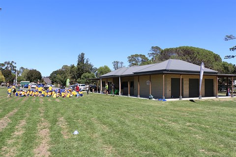 This images show Mick Sherd Oval with the current change rooms in the background