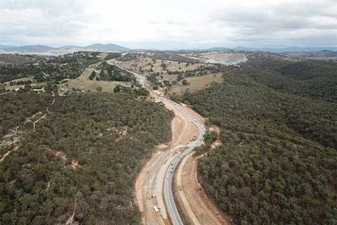 Shows progress of duplication of Old Cooma Road April 2019